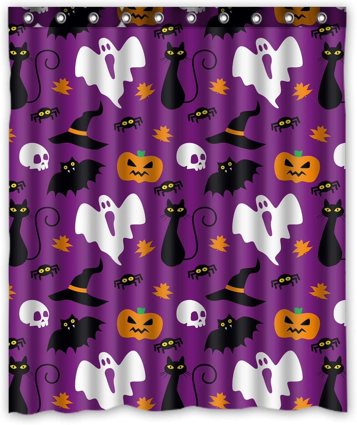 Magic Cat Pumpkin Shower Curtain Set Waterproof Fabric Halloween Bathroom Hooks