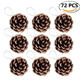 Pine Cones, Coxeer 72Pcs Christmas Hanging Pinecone Ornaments Xmas Tree Ornaments Party Supplies