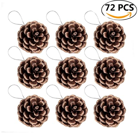 coxeer pine cones 72pcs christmas hanging pinecone ornaments xmas tree ornaments party supplies - Pine Cone Ornaments