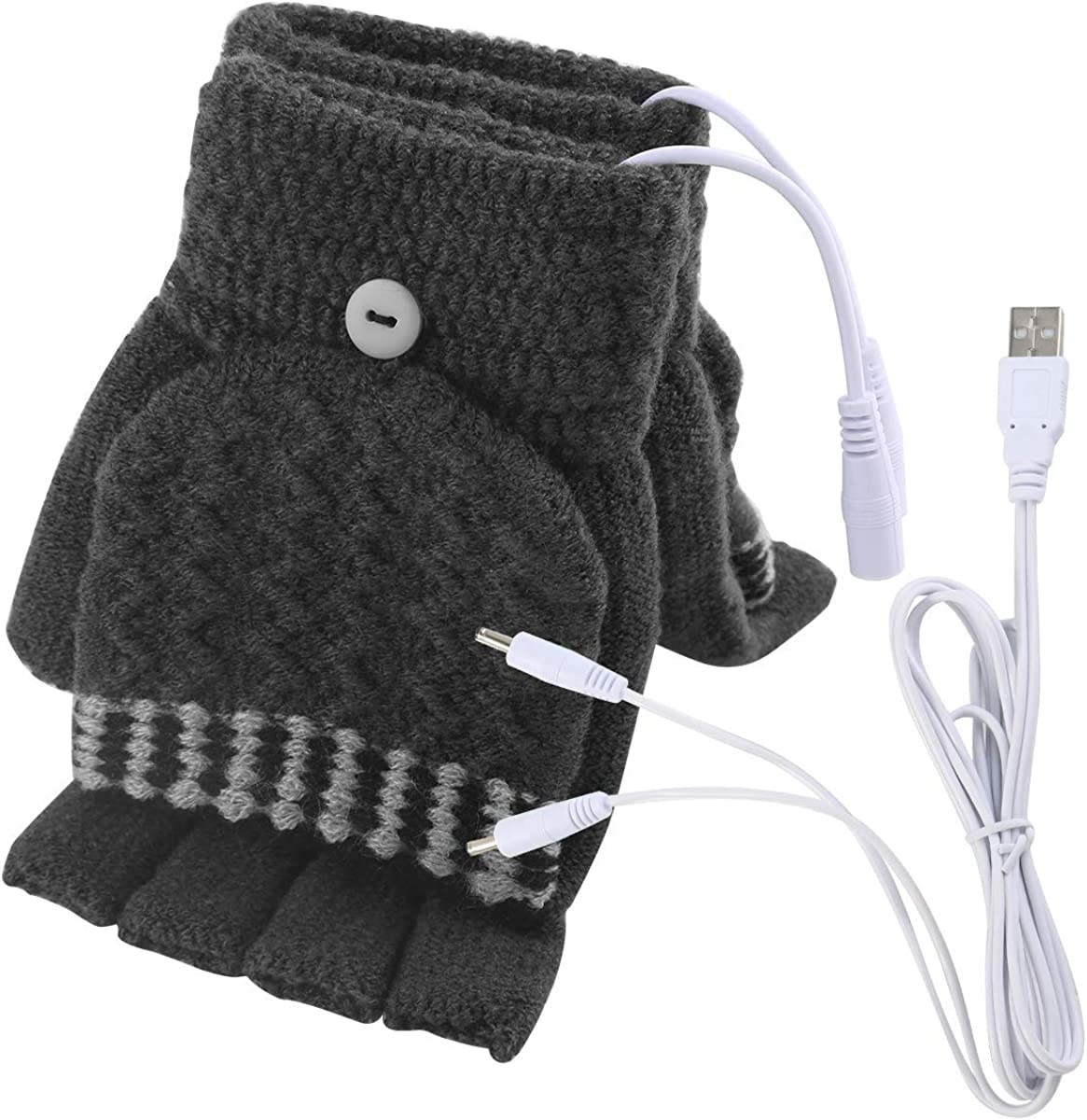 Women's & Men's USB Heated Gloves Mitten Full & Half Fingerless Winter Hands Warmer Laptop Gloves