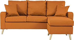 Divano Roma Furniture Middle Century Modern Linen Fabric Small Space Sectional Sofa with Reversible Chaise (Orange)