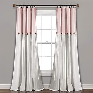 Lush Decor, Blush/White Linen Button Window Curtain Single Panel, 84