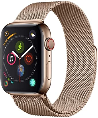 Apple Watch Series 4 Gps Cellular 44mm Gold Stainless Steel Case With Gold Milanese Loop Amazon Co Uk