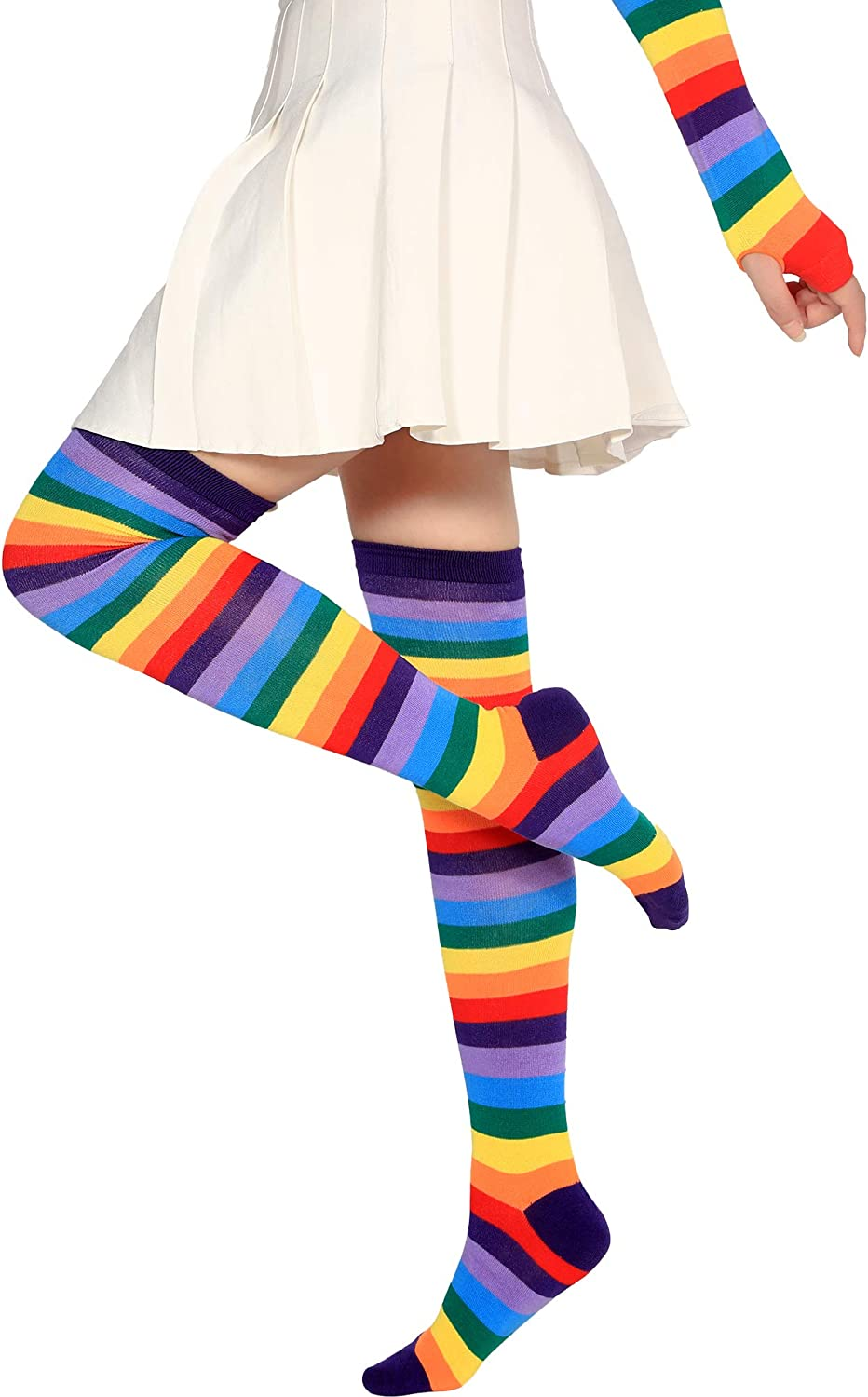 2 Set Women Long Striped Socks Arm Warmer Gloves Knee High Stockings for Christmas Cosplay Party Daily Wear