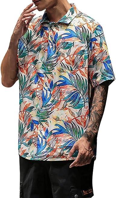 Vectry Hombre Verano Hawaii Camisas Casual Manga Corta Tops ...