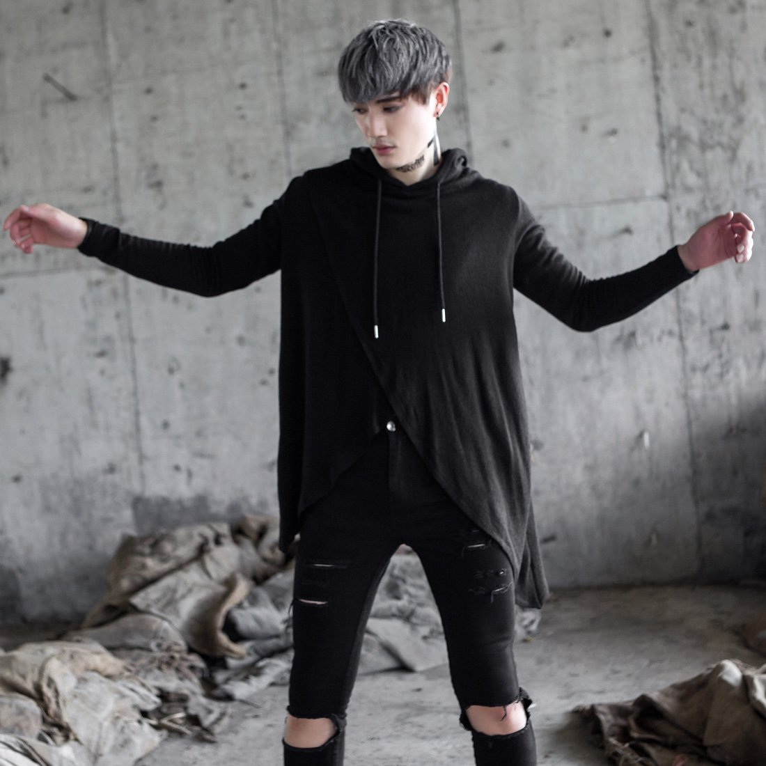 MOKEWEN Mens Crossover Hooded Unbalance Hem T-Shirt