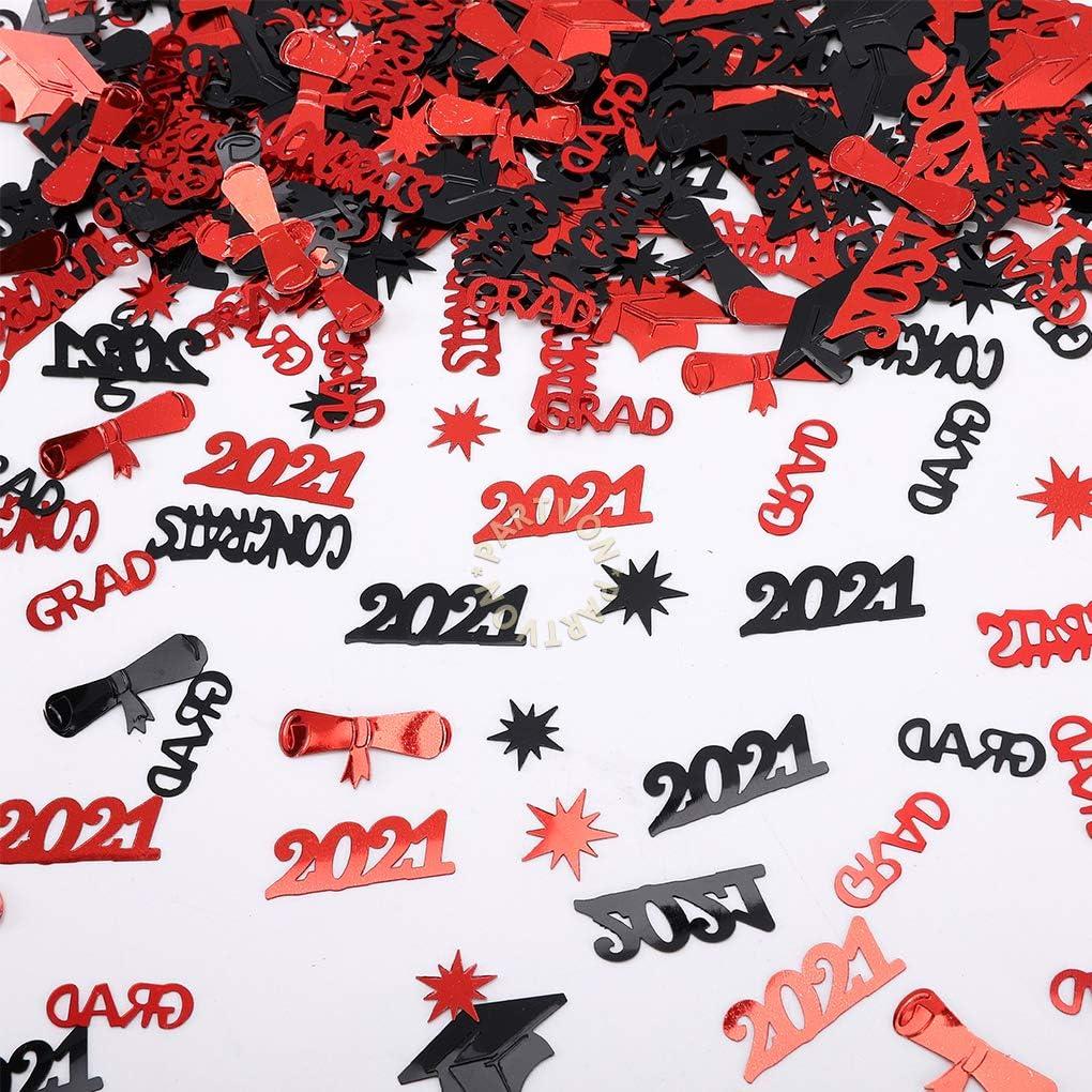 Graduation Confetti 2021, Black Red Decor Graduation Party Supplies,Class of 2021 Decorations Table Confetti for Kindergarten Preschool High School College