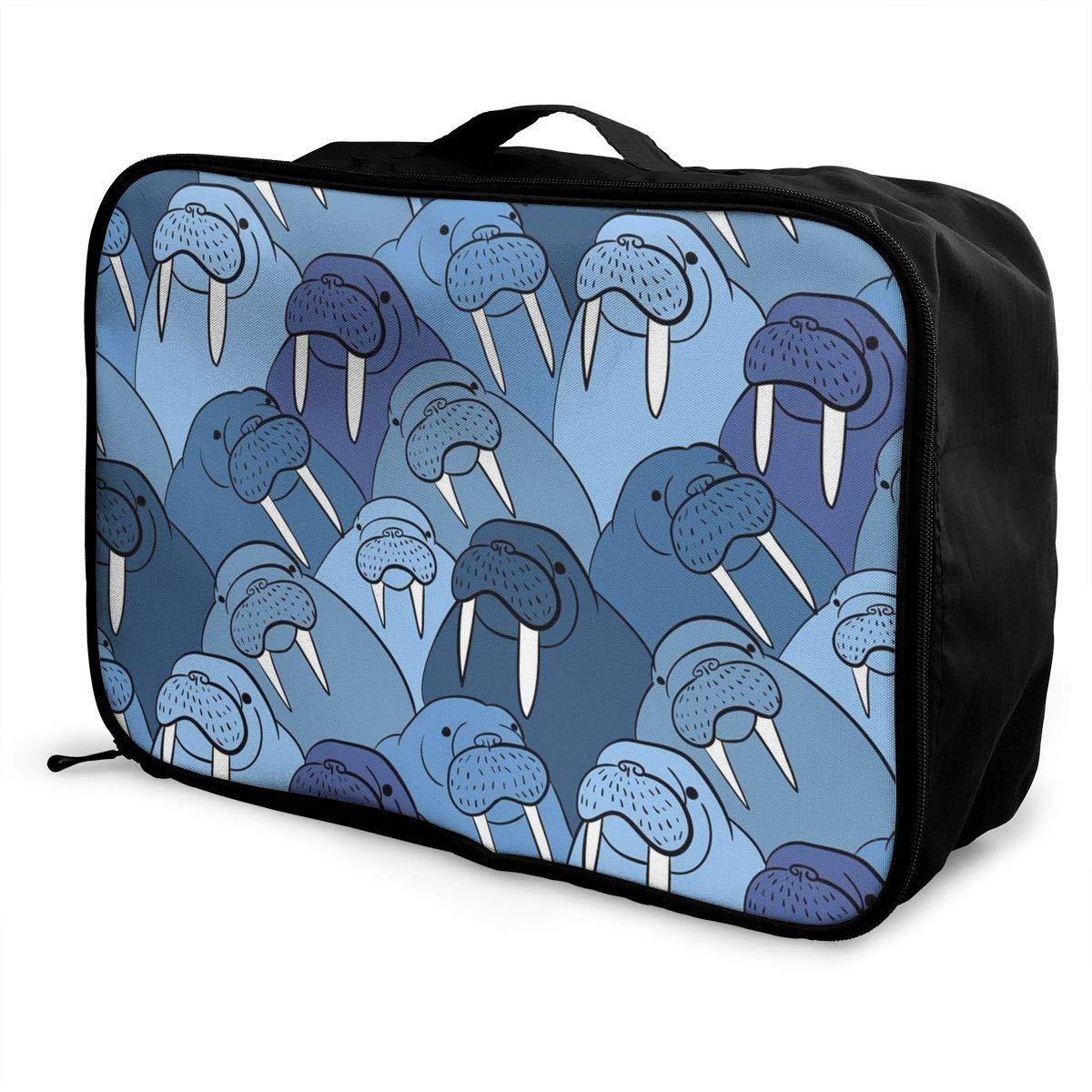 Travel Lightweight Waterproof Foldable Storage Carry Luggage Duffle Tote Bag Walrus Cute Animal Art Nautical Ocean Theme Antarctic JTRVW Luggage Bags for Travel
