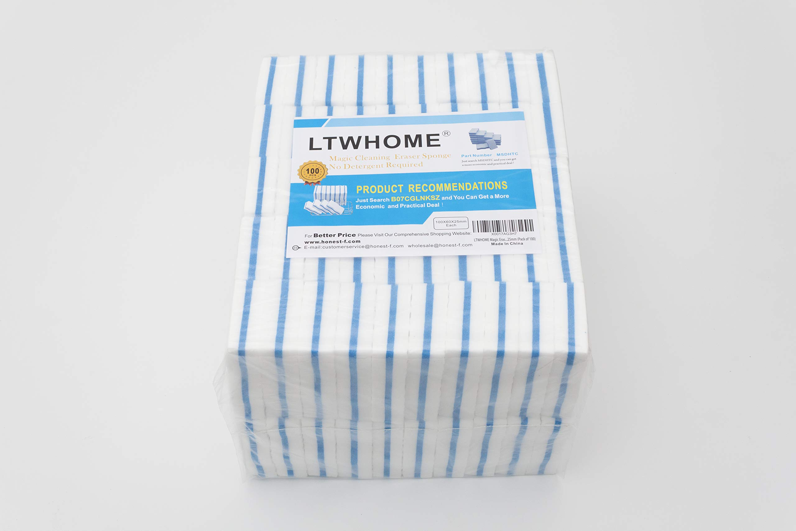 LTWHOME Generic Magic Eraser Kitchen & Dish Scrubber Dual Sided Cleaning Melamine Foam M(4'' x 2.4'' x 1'') (Pack of 100) by LTWHOME (Image #1)