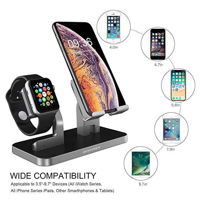 BENTOBEN Cell Phone Stand Compatible with Apple Watch iPhone Android Phone iPad Tablet, Charging Dock Station Holder for iWatch Series 4/3/2/1 iPhone ...