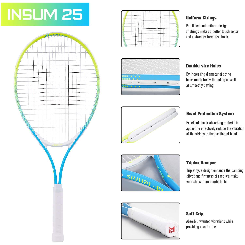 insum Junior Tennis Racquet 25'' Beginner Kids Starter (Ages 9-10) with Shoulder Strap Cover Bag by insum (Image #4)