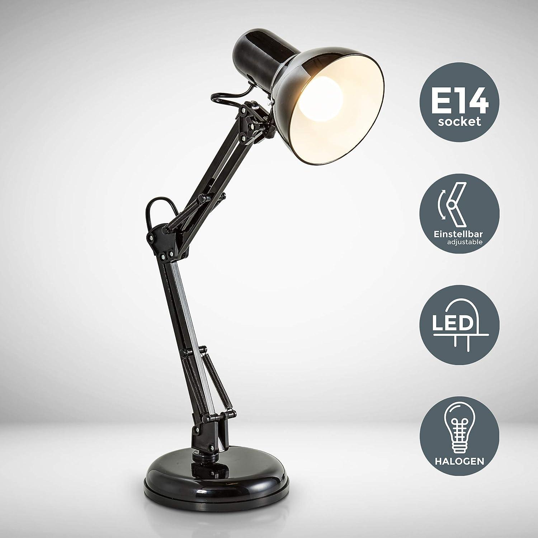 B.K.Licht - Lámpara de escritorio tipo arquitecto, flexo LED halógena, máximo 40W y 230V, con brazo articulado giratorio, diseño vintage retro, color negro