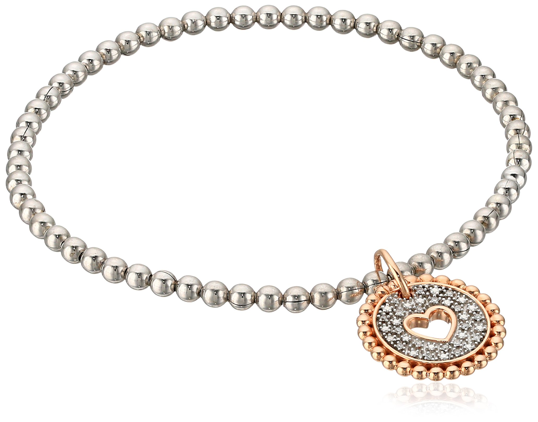 Sterling Silver and 10k Rose Gold Diamond Accent Stretch Bead Heart Cut Out with Charm Bracelet