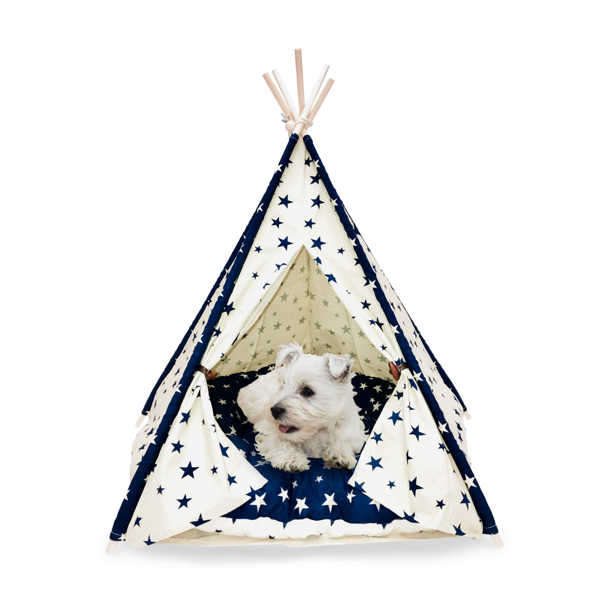 Pet Teepee with Cushion, Small Animals Bed Teepee Tent, Dog & Cat Bed, Portable Dog Tents & Pet Houses, Teepee Dog & Cat Bed, Pet Tents, Dog House, Perfect for Puppies, Small Dogs, Cats & Rabbits by Mindful Grasshopper