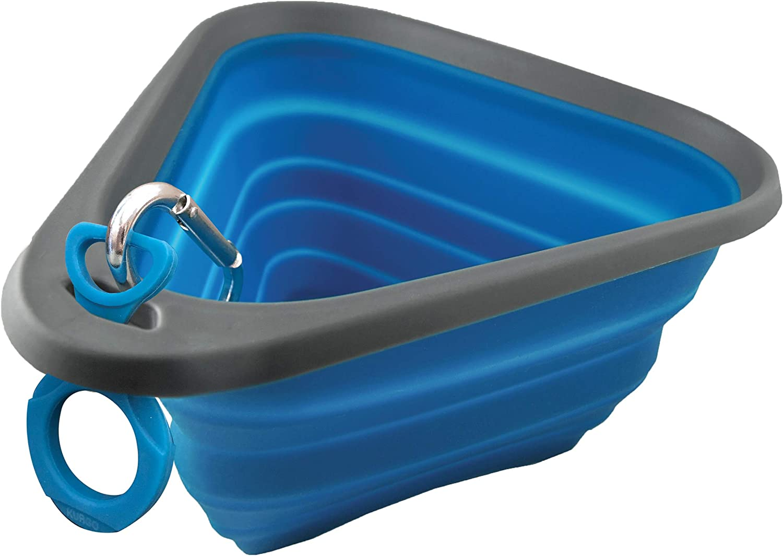 Kurgo Collapsible & Portable Travel Dog Bowl | Mash N' Stash | Portable Water for Dogs | Food Grade Silicone Collapsible Dog Bowl | BPA Free | Pet Travel Accessories | Holdsup To 24 oz (Regular), Blue