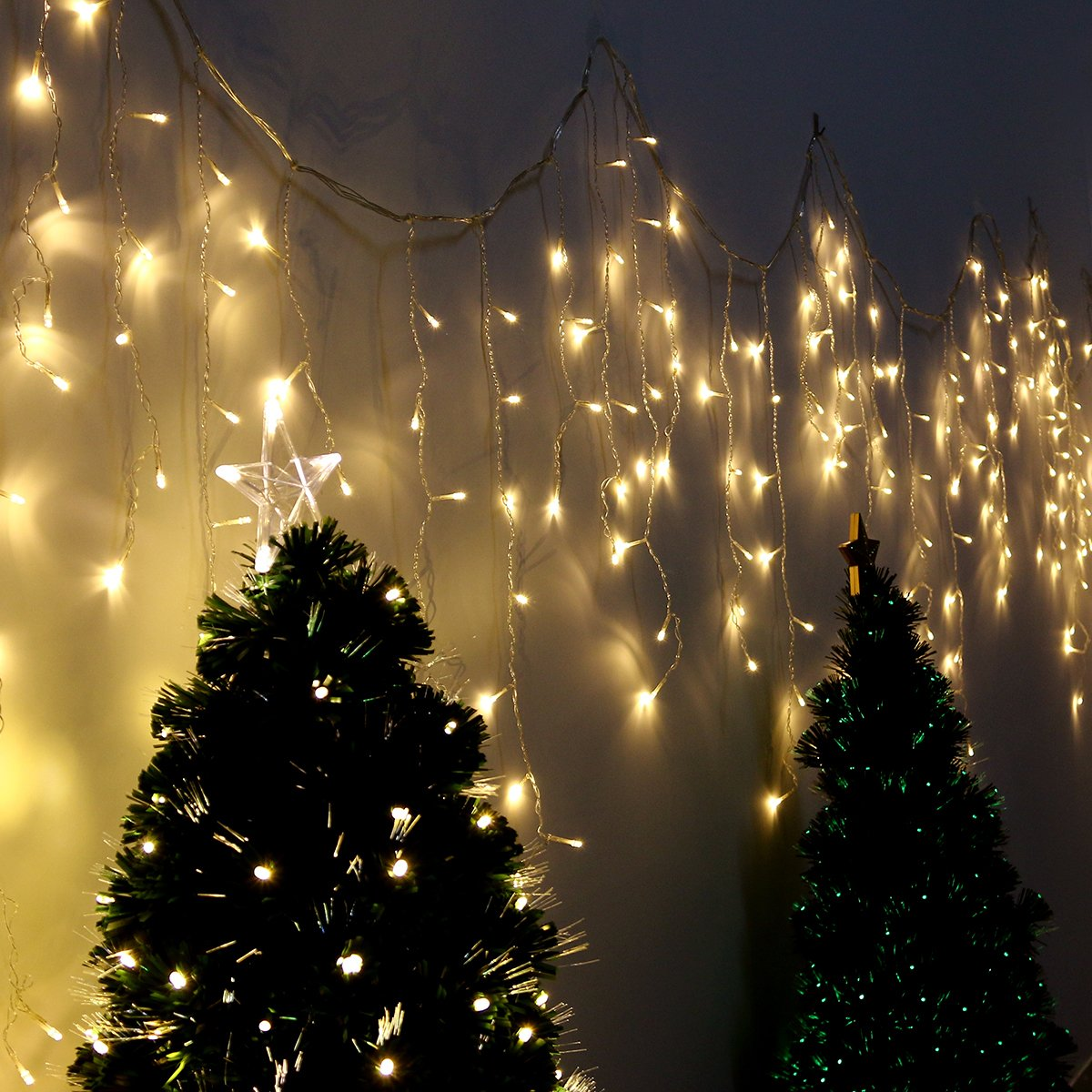 LED Icicle Lights, YUNLIGHTS 16.5 ft 216 LED Plug in Fairy String Lights, Warm White Curtain Christmas Lights for Bedroom Patio Yard Garden Wedding Party