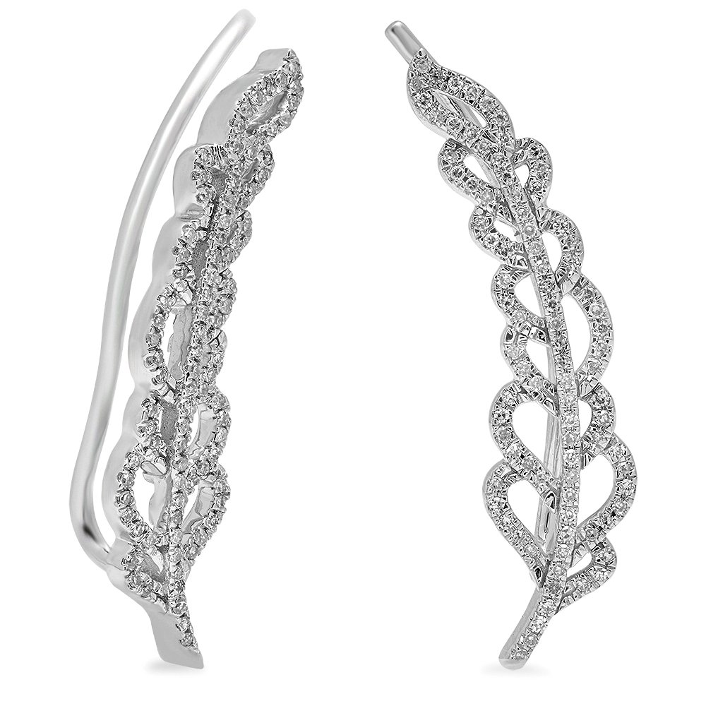 0.26 Carat (ctw) 14K White Gold White Diamond Ladies Leaves Ear Cuff Crawler Climber Earrings 1/4 CT