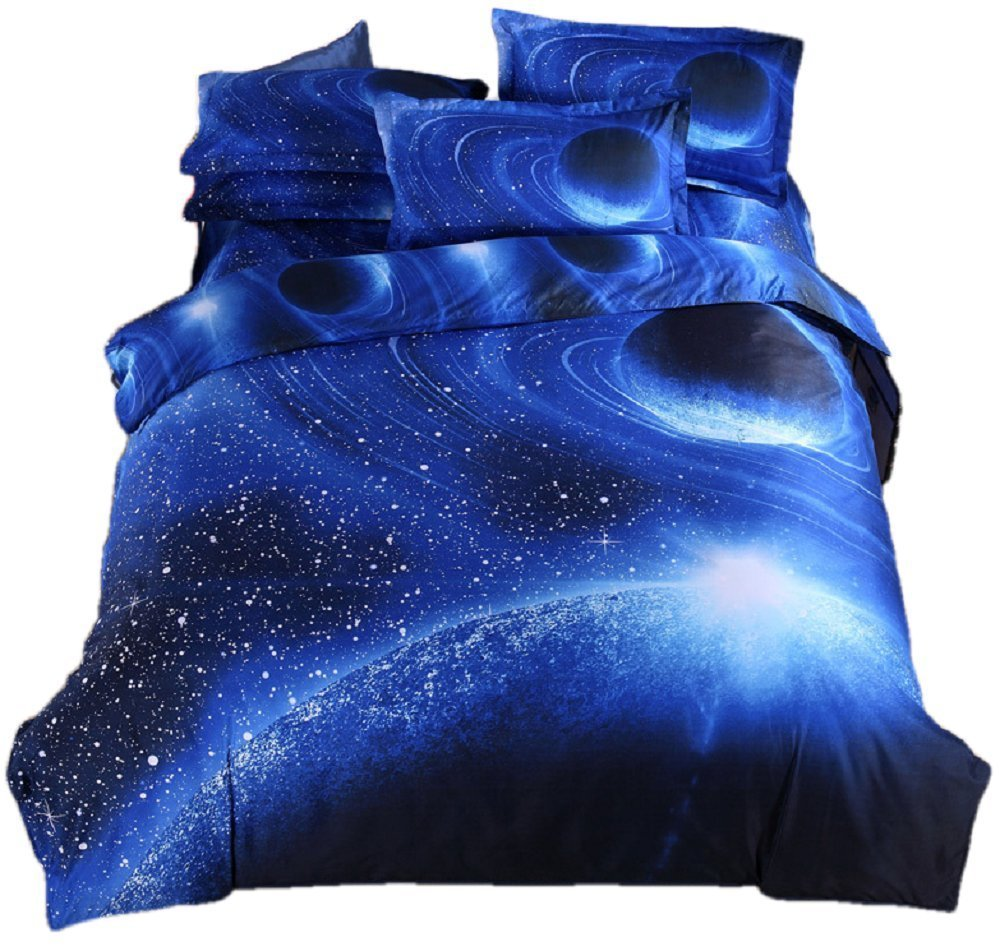YOUSA Blue Planet Bedding Polyester Bedding Set for Boys and Girls Twin (05)