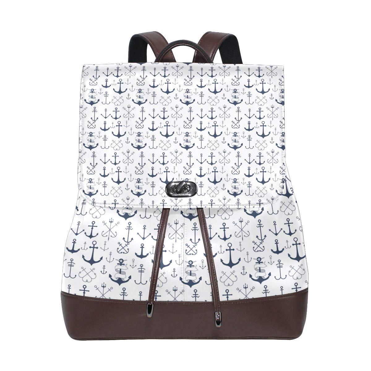 Leather Blue Sailor Anchor White Backpack Daypack Elegant Ladies Travel Bag Women Men
