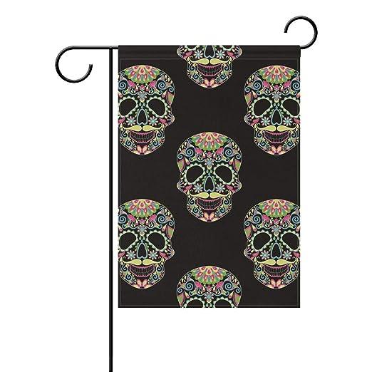 Bandera de jardín con diseño de Calavera y Tatuaje de Flores de 12 ...