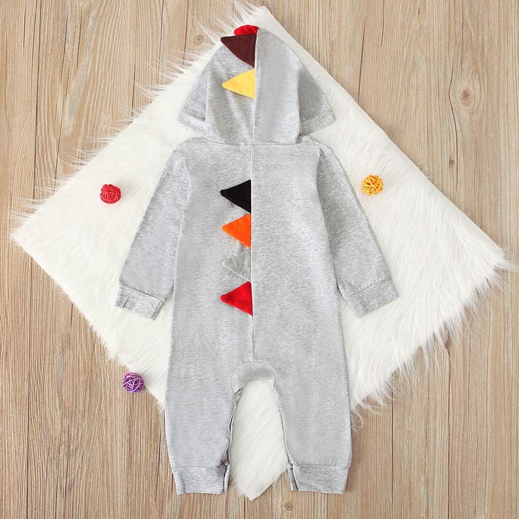 H.eternal Dinosaur Costumes Newborn Baby Boys Girls Romper Hooded Long Sleeve Onesies Jumpsuit Outfits