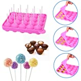 SunTrade 20 Cavity Silicone Pink Party Cupcake Baking Mold Cake Pop Stick Mold Tray,With
