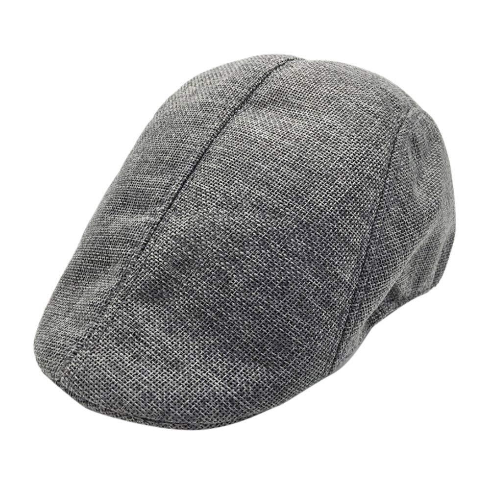 Men Summer Breathable Beret Flat Cap Visor Hat Sun Cap Casual Mesh Solid Low Profile Hat Vintage Trucker Cap (Grey)