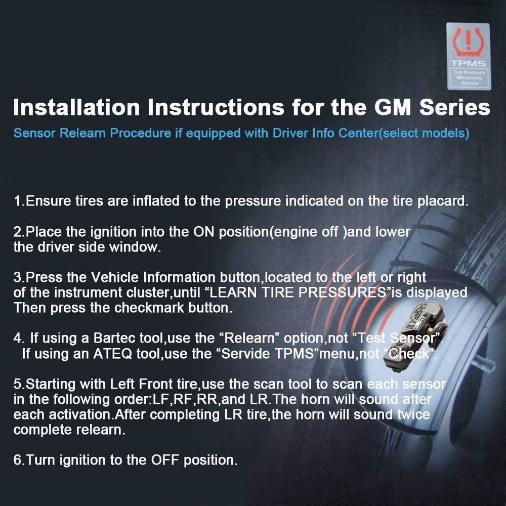 Black Black cciyu Fits for 2007-2014 Buick 2006-2014 Cadillac 2006-2015 Chevrolet 2007-2015 GMC 2008-2010 Pontiac Original Equipment Programmed Tire Pressure Monitoring System Sensor 315 MHz