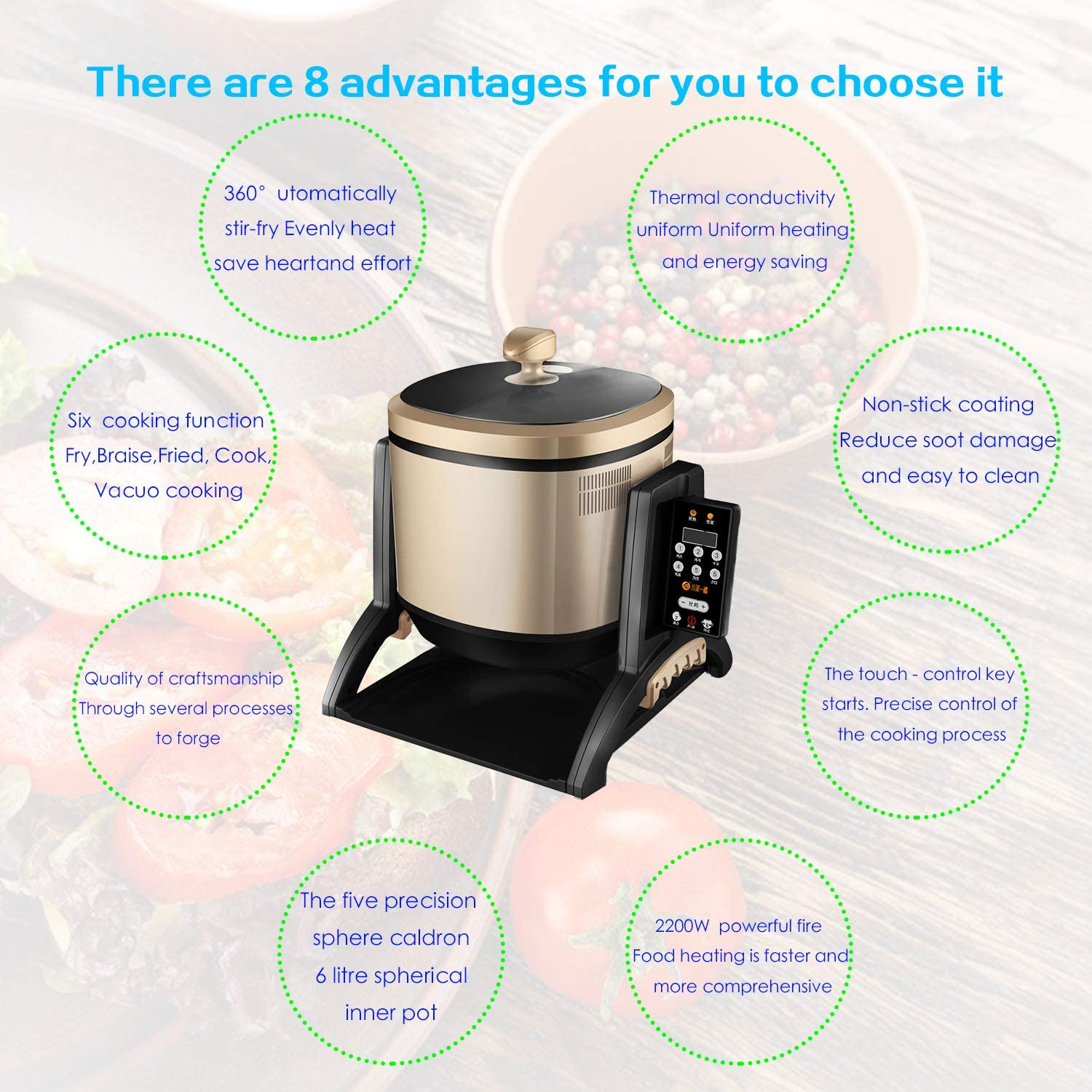 Xiaocaiyidie High Power Automatic Robot Cooker Wok Robot Pot for Fast Food Restaurant: Amazon.es: Hogar