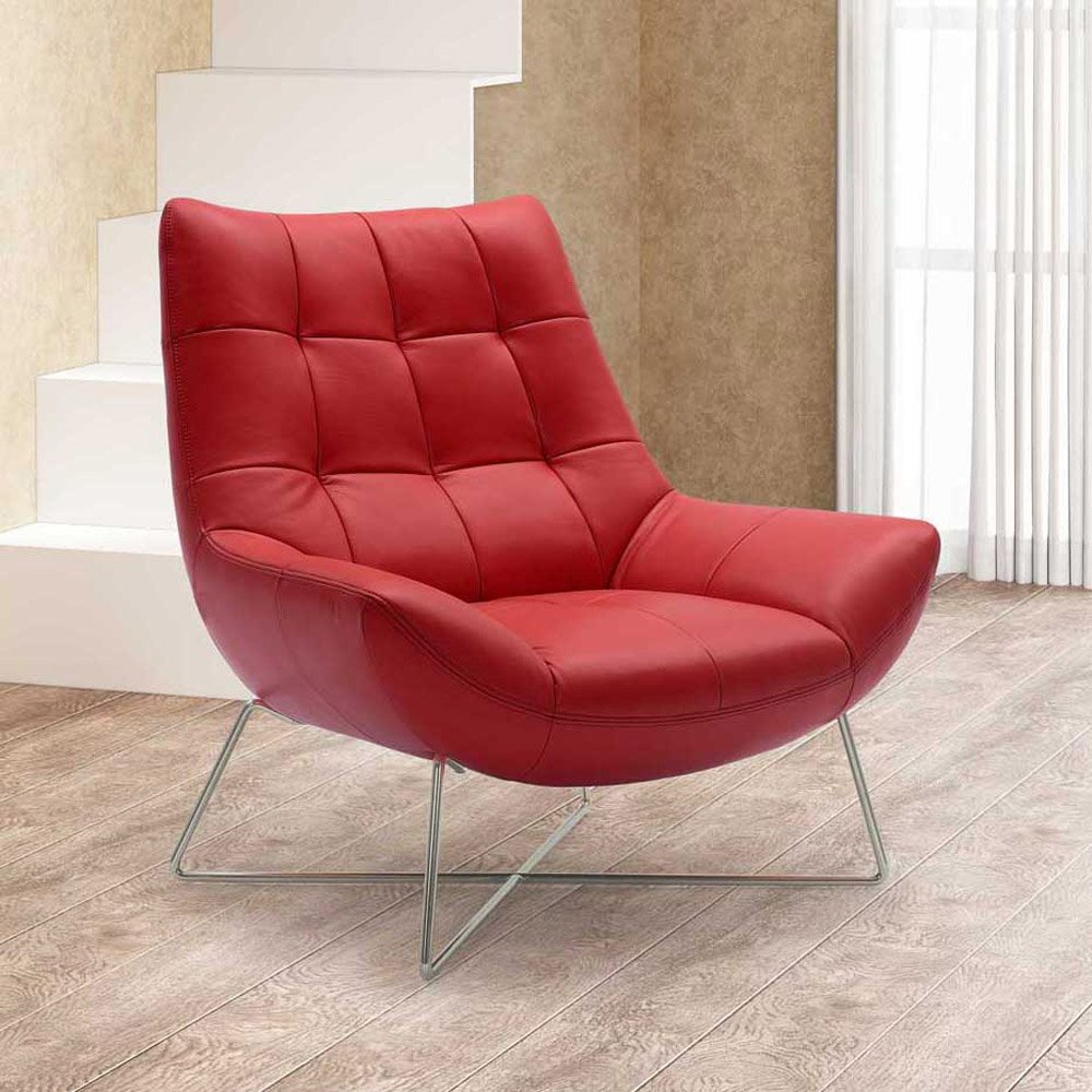 amazoncom medici tufted leather modern accent chair  red  - amazoncom medici tufted leather modern accent chair  red kitchen dining