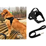 Liying Padded Adjustable Non Pull Dog Harness + Black Leash Lead 120cm Safety Reflective Heavy Duty Chest/ Back Collar With Handles for Small Medium Large Pet