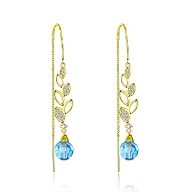 f44fadb4f Yellow Chimes Crystals from Swarovski Blue Wine 22K Real Gold Plated Sui  Dhaga Earrings for Women