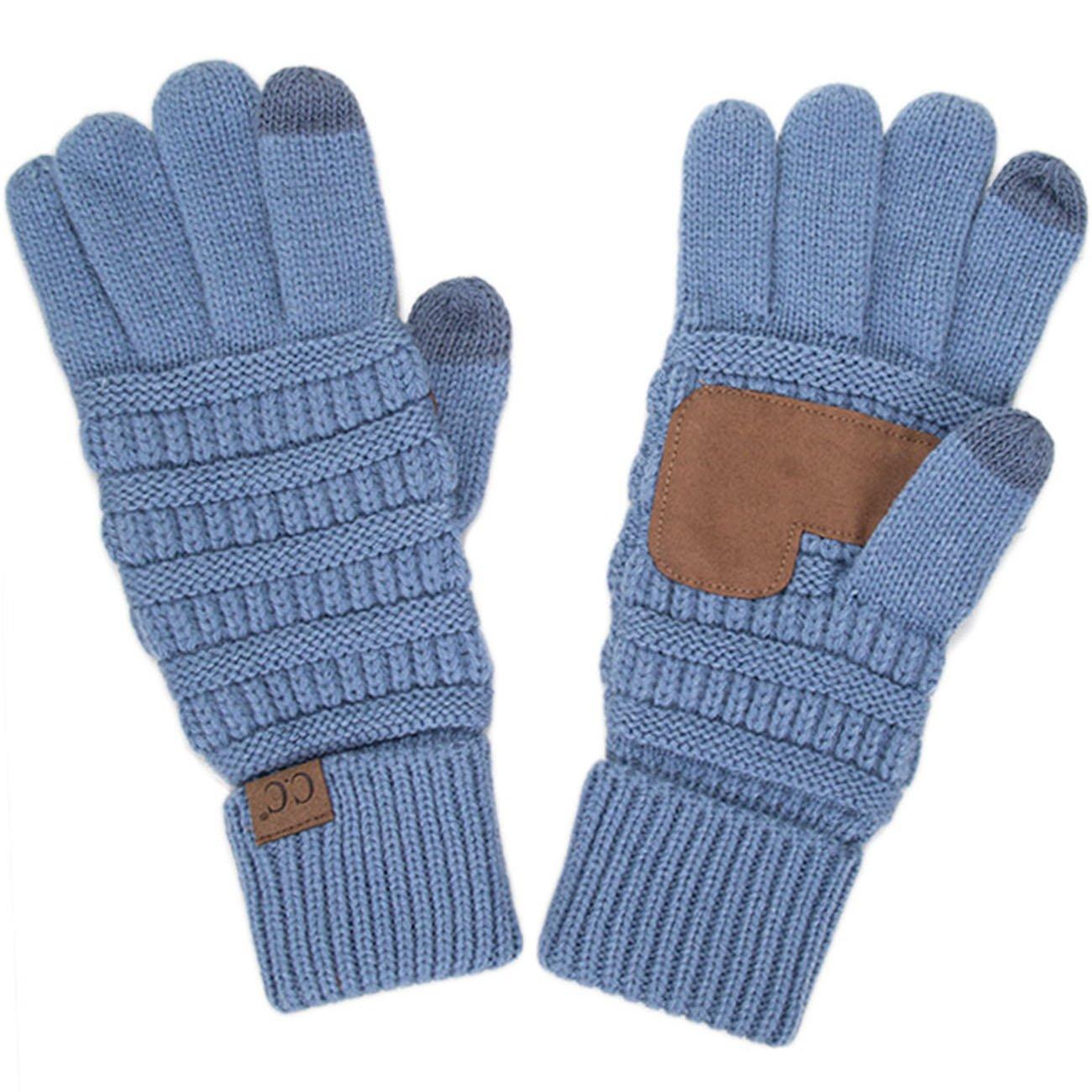 ScarvesMe CC 3pc Set Trendy Warm Chunky Soft Stretch Cable Knit Beanie Scarves Gloves Set (Denim) by ScarvesMe (Image #3)