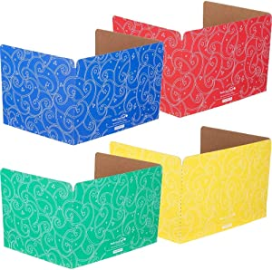 Really Good Stuff Standard Privacy Shields – Set of 12 – 4 Group Colors for Classroom Testing – Star & Swirl