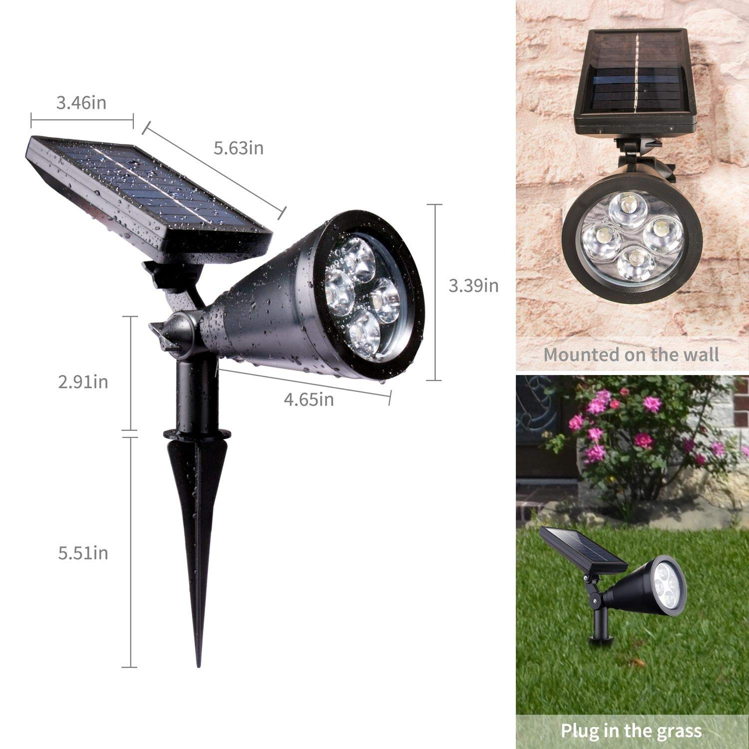 2 Pack Upgraded Outdoor Solar Spot Lights - Waterproof Adjustable Yard Lights Solar Landscape Lights for Outdoor Garden Pathway Driveway Lawn Walkway Lighting Illumination, Auto On/Off Bright White by Brightown (Image #2)