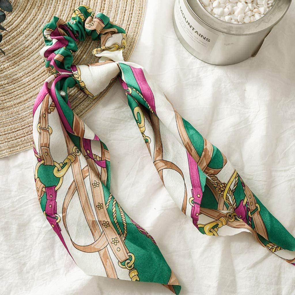 Wuweiwei12 1Pc Vintage Women Scarf Hair Scrunchies Bow Tailor Bowknot Headers Summer Headbands Elastic Hair Ties For Girls