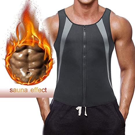 f015612b03b70 HEXIN Men Neoprene Sauna Sweat Suits Zipper Closure Tank Top Shirt for  Weight Loss Black Slimming
