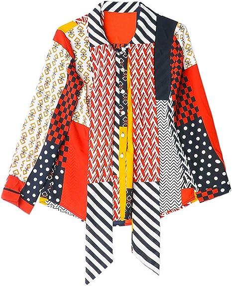 XCXDX Camisa De Gasa Colorida para Mujer, Top De Lazo con Lazo En ...