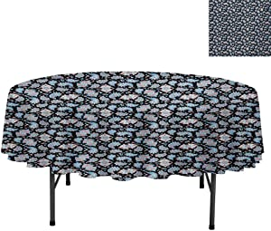 """Oil-Proof Spill-Proof and Water Resistance Microfiber Tablecloth, Persian Teardrop Motifs with Curved Tip and Curved Strip, Table Cover for Dining Table, Round 36"""", Coral Pale Blue Black"""