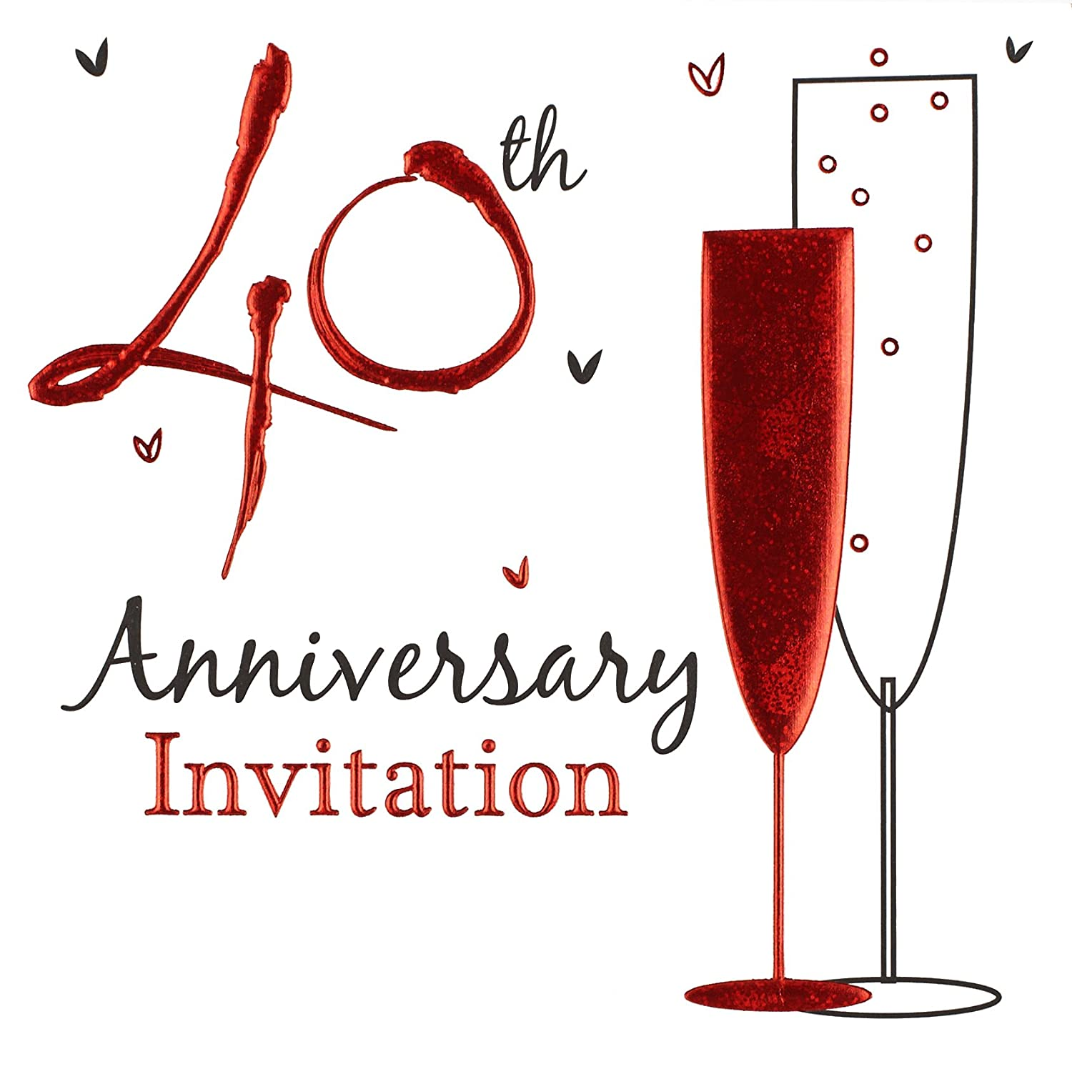 Invitation Wedding Anniversary Ruby Foil 6 Pack with Envelopes ...