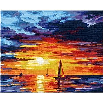 Kayi Coucher De Soleil Sur La Mer Peinture à Lhuile Par Numéro De