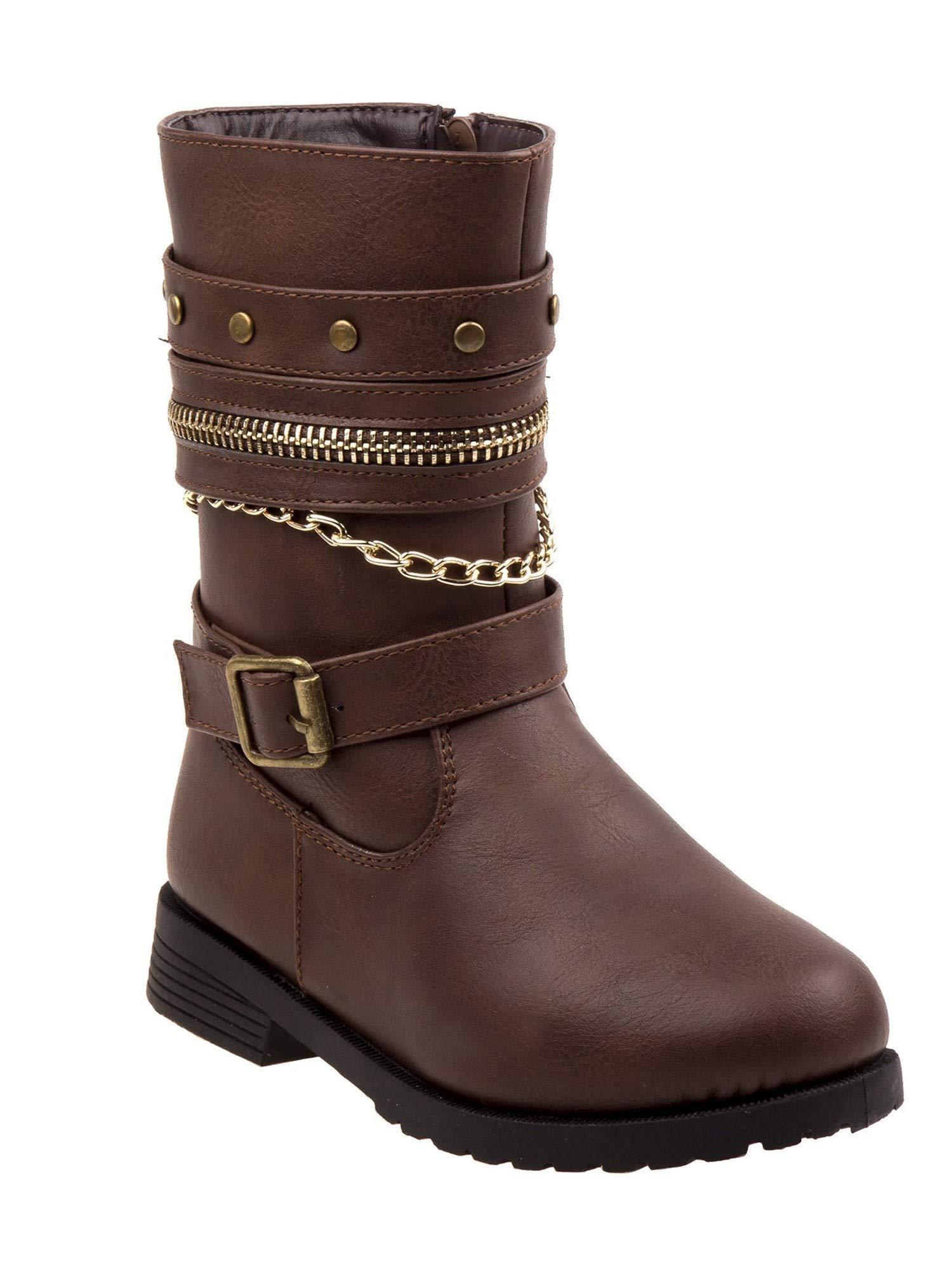 Rugged Bear Little Girls Brown Chain Zipper Buckle Mid-Calf Boots 5 Toddler