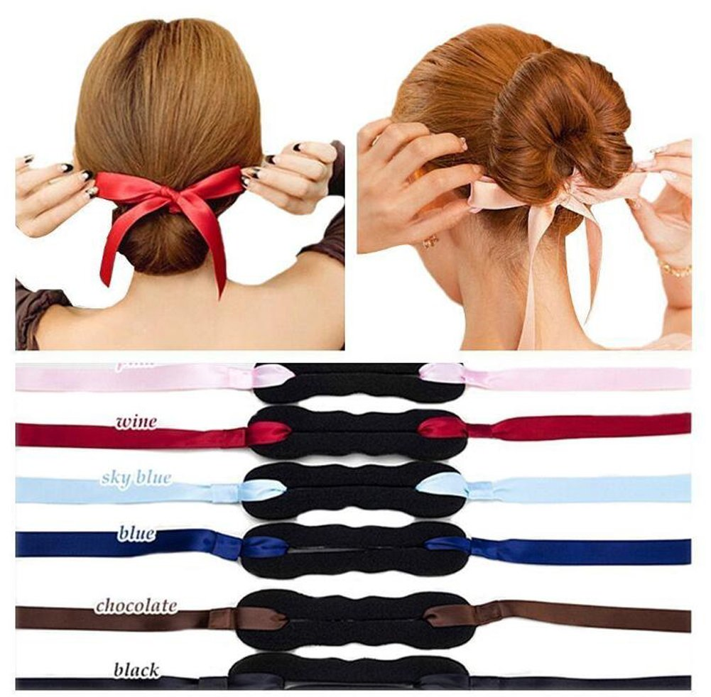 3Pieces Magic French Twist Bun Maker Holder Roll Rings Headband Turban Bun Maker/Bun Hair Doughnut Donut Hair Pieces (Black + Red + Pink) Elandy