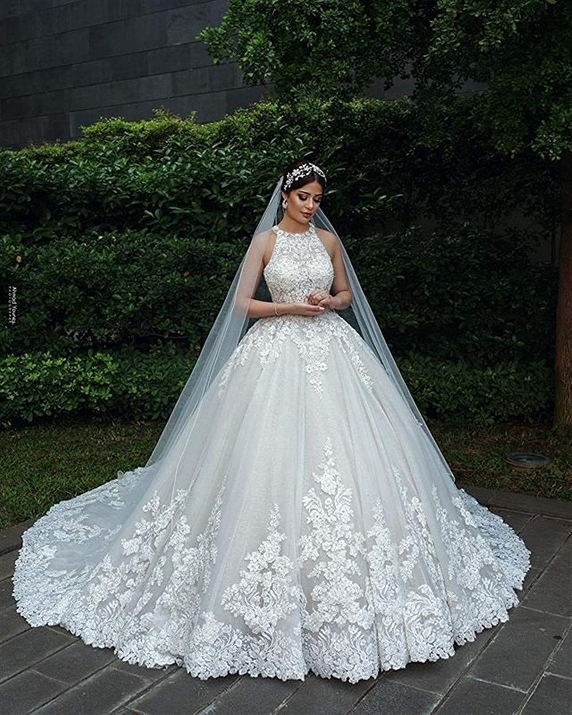 LISHUHUA Hochzeitskleid Hochzeit der Damen Luxuxspitze-muslimische