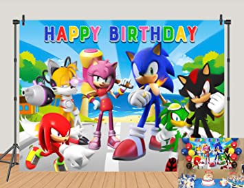 Amazon Com 5x3ft Sonic Happy Birthday Backdrops Sonic The Hedgehog Phtotgraphy Background Spongebob Baby Shower Party Phto Studio Props Camera Photo