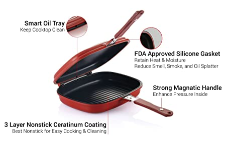 Amazon Com Happycall 3002 0014 Double Pan Jumbo Grill Cookware Red Grill Pans Kitchen Dining