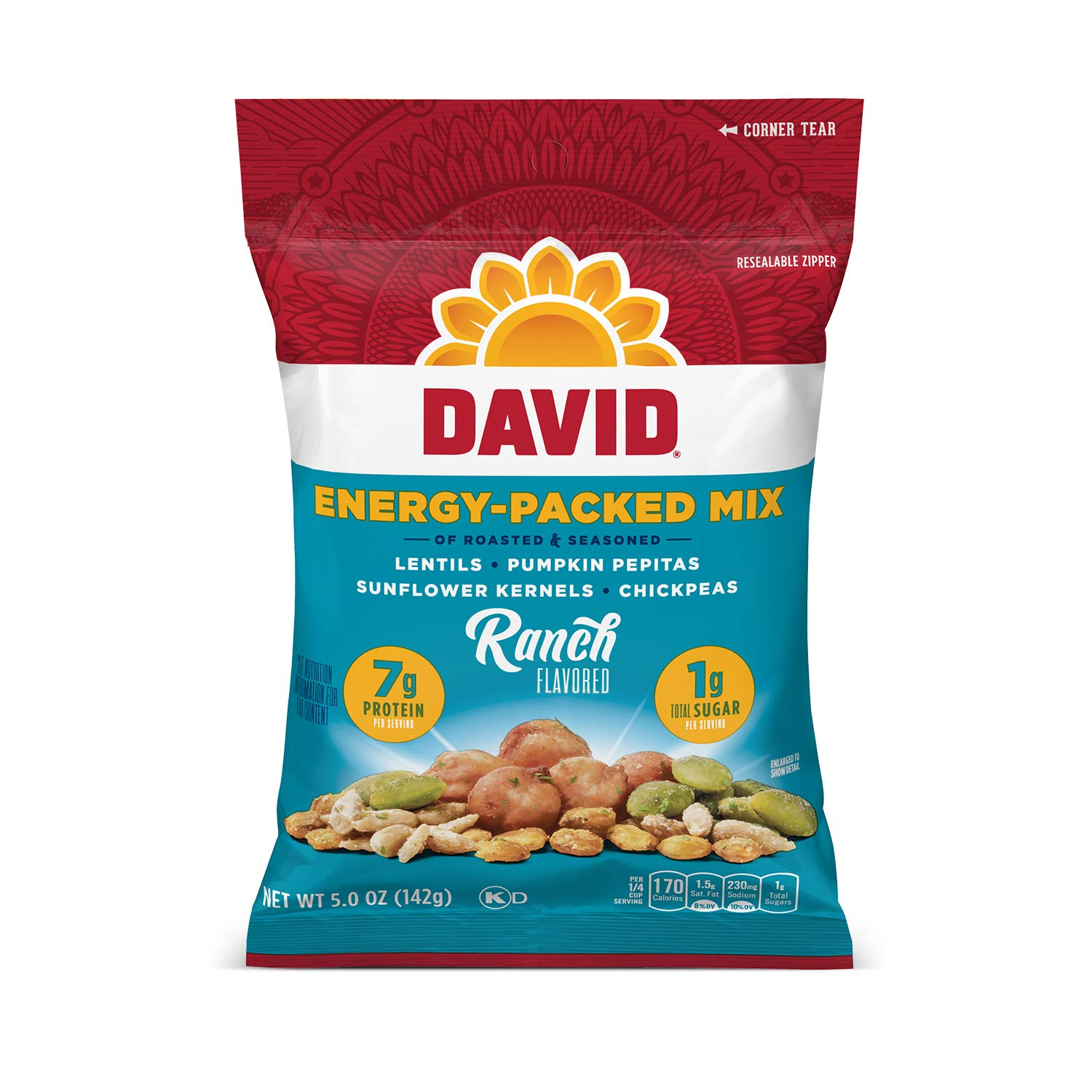DAVID Seeds Mix for Snacking, Ranch Seed, 5 Oz (Pack Of 8)