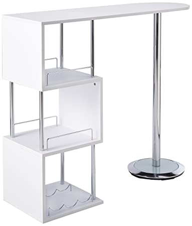 Kings Brand Furniture Bar Table With Storage Shelves With Chrome Finish,  White