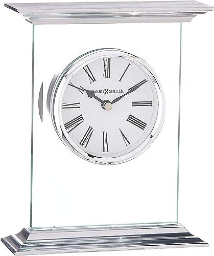 Howard Miller Clifton Table Clock 645-641 Modern Glass with Quartz Movement