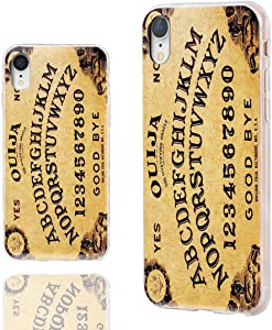 iPhone XR Case Cute,ChiChiC 360 Full Protective Shockproof Thin Slim Flexible Soft TPU Clear Case Cover with Cool Design for iPhone XR 6.1,Yellow Ouija Board Funny